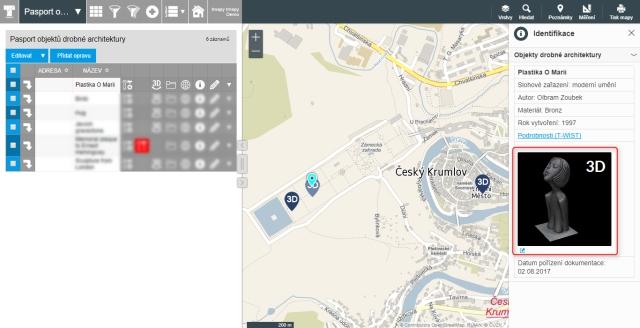 Technologie 3D objekty a 3D modul pro T-MAPY Web GIS